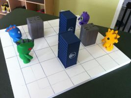 Giant Monster Battle unpainted board w/figs by Hungryclone