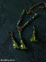 Green drop set by BlackWings-jewelry