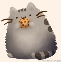 Pusheen with a cookie by Steodoo