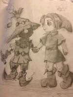 Shaded Lineart, Skullkid and Link by PortTheJumper
