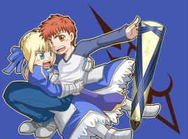 Saber and Shirou by yuemaru