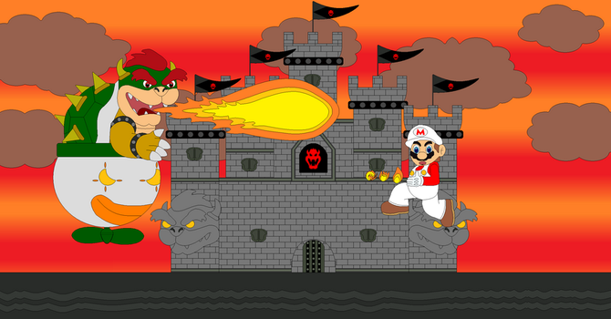 Bowser and Mario fight by Bowser14456