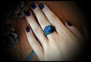 Ring \ Crystal \ polymer clay by IskaArt