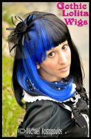 Blue and Black 2-Tone Bob by GothicLolitaWigs