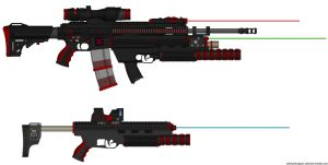 T.R.X.-790 Thresher Heavy Assault Rifle and GL-990 by Lord-DracoDraconis