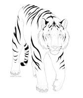 Tribal Tiger Lineart by Kium