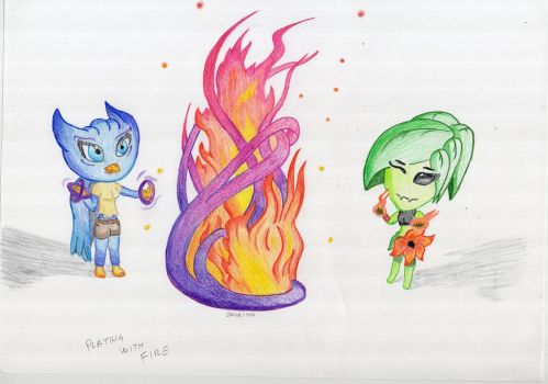 Ember and Meledy - Playing with FIre and Wind by LonelyTear-T-T