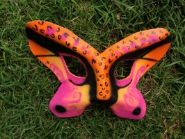 Butterfly Sunset Cheetah Leather Mask by omfgitsbutter