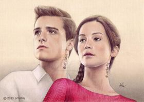 Peeta and Katniss by artistiq-me