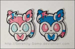 Sylveon and Shiny Sylveon Trozei Patches by Serenity-Sama