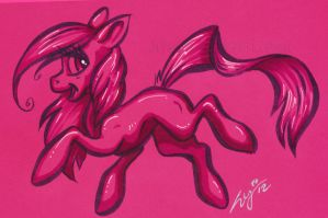 My Little Pony - pink neon color card by Zelaphas