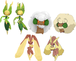 MMD Rigged Pkmn - Lopunny, Leavanny, Whimsicott DL by Kitsuna020