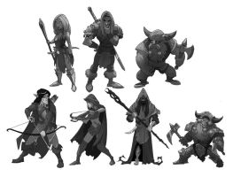 Fantasy Grayscale Chars by SC4V3NG3R