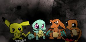 Pokemon - Pikachu, Squirtle, Charizard, Charmande by ily4ever95