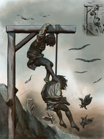Helping the hanging man to die. by Cukta