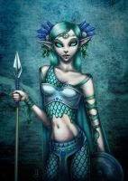 Sea Nymph Warrior with Spear by jen-jamieson