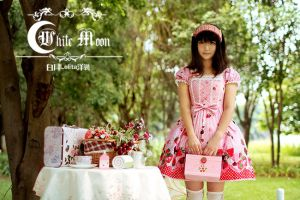 White moon pink one piece cap sleeves Lolita Dress by miccostumes