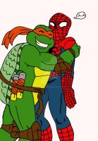 TMNT: Mikey and Spidey by xero87