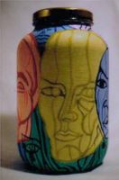 Faces of Color Glass Bottle by ArtDAK71