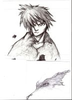 Guy (reminds me of cloud) + unfinished dragon head by pixelnova