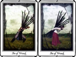 Tarot-Ten of Wands by azurylipfe