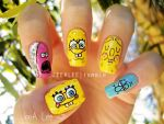 SpongeBob And Neighbors Nails by jeealee