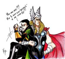 Thor takes Loki to Asguard colored by Lana125