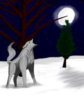 Winter Howl - Digital by GoddessSpiritwolf