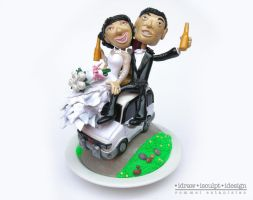 Cherry and Vince Wedding Cake Topper by Dinuguan