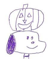 Snoopy with a Jack 'O Lantern on top of his head by dth1971