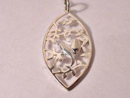 Vintage Sterling Silver Leaf-cut Lovebirds Pendant by sevvysgirl