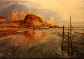 Lindisfarne oil painting by Sculptor-Robert-D