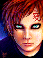 Tegakie Oekaki -- Gaara by nocturnalMoTH