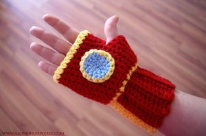 Crochet Ironman Glove by AloneInUniverseArt