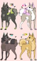 Male and Female Wolf Adoptables 1. CLOSED by MichelsAdoptions