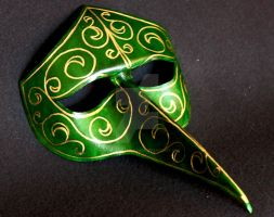 Leather Venetian Mask with Gold Trim by themotleymasquerade