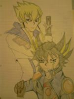 jack atlas and yusei fudo by CLAIREXSTEVE95