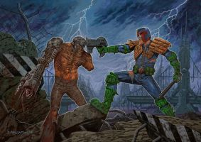 JUDGE DREDD vs MEAN MACHINE by m1llgato5