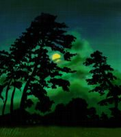 Moon and trees by lordratchezlath