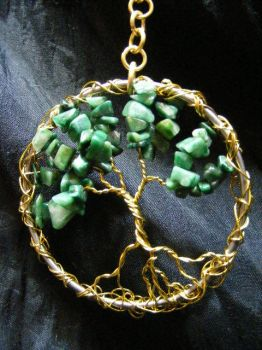 African jade and Brass Tree Suncatcher by BacktoEarthCreations