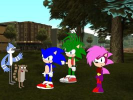 Mordecai and Rigby meet the Sonic Underground by YRT9401