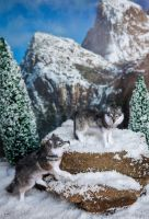 Dollhouse Miniature Winter Wolf 1:12 OOAK by heartfeltcanines