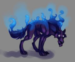 Shadow wolf wif FIRE by A-kija