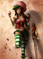 LoL: Caitlyn 'Cherry Cupcake' by inkjetcanvas