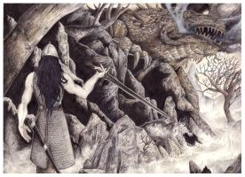 Turambar stands before Glaurung by peet