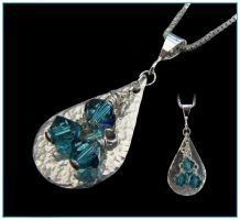 Teardrop and Crystal Pendant by Sarahorsomeone
