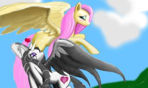 Spiral Heart and Fluttershy by sonar-doll