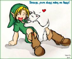 Young Link and a Doggy by sakumisty