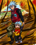 Horohoro and his son in the autumn forest by Shizuri-chan