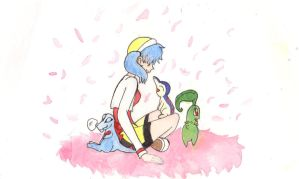 Kris and the Johto Starters by Enuwey